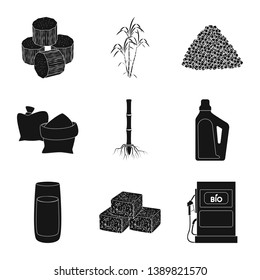 Vector design of sucrose and technology icon. Collection of sucrose and cane vector icon for stock.