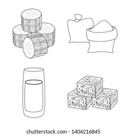 Vector design of sugar and field symbol. Set of sugar and plantation stock symbol for web.
