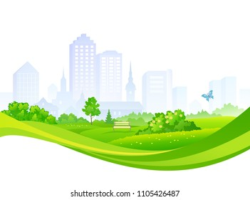 Vector design with a summer city panorama, isolated on a white background