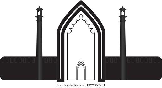 Vector Design of Symbolic Rumi Darwaza in Lucknow Uttar Pradesh India