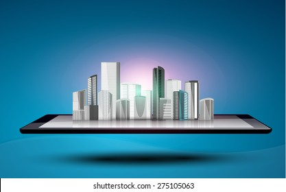 Vector design Tablet Computer with Application icon, Business and Technology Information concept, Building on tablet computer