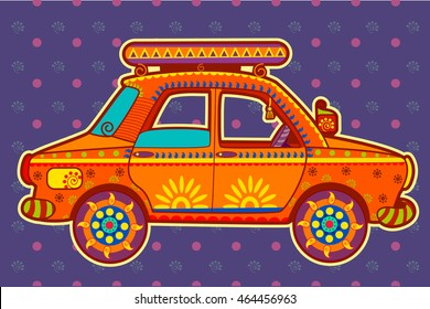 Vector design of Taxi cab in Indian art style