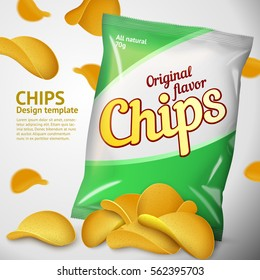 Vector design template for Chips advertising. Package with place for design, chips pile and chips on background.