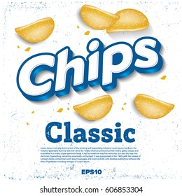 Vector design template for Chips. Package design. Logo design. Classic