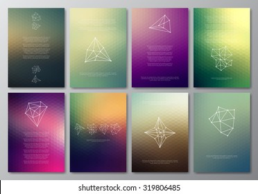 Vector design template collection for banner, flyer, placard, poster, greeting card, brochure. Abstract modern polygonal backgrounds. Set of patterns, vintage labels, logo. Retro Backgrounds.