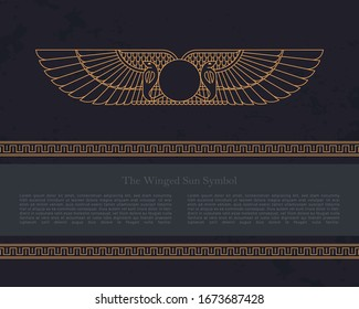 Vector design template Egyptian fertility goddess Isis isolated on the hand-drawn background from Egyptian pyramids, a symbol of femininity and marital fidelity, goddess of navigation.