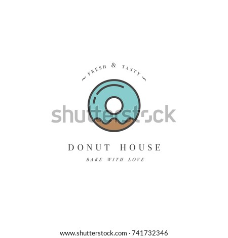 Vector Design Template Emblem Donut Icon Stock Vector Royalty Free