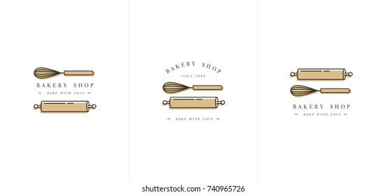Vector design template and emblem - kitchen roll and coronet for bake shop. Bakery. Logo in trendy linear style