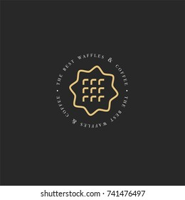 Vector design template and emblem - waffle icon for bake shop. Sweet shop. Logo in trendy linear style and golden color