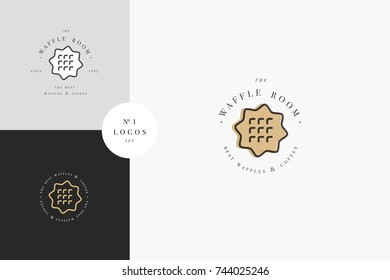 Vector design template and emblem - waffle icon for bake shop. Sweet shop. Logo in trendy linear style