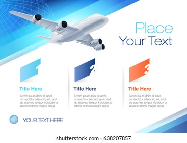 Vector design template with flying airplane, horizontal. EPS10 vector file.