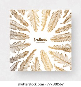 Vector design template with gold feathers for invitations, wedding greeting cards, certificate, labels.