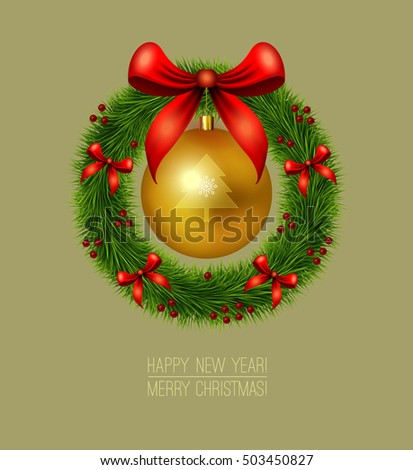 vector design template green christmas wreath and gold christmas ornament with decor from bows