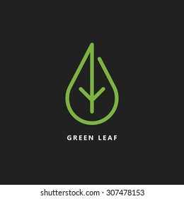 vector design template of green leaf logo eco renewable energy alternative power organic