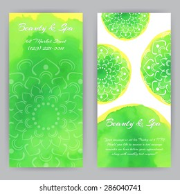 Vector design template green lotus flowers. Beauty, spa or yoga theme. For flyer, brochure, coupon, ticket, banner, invitation, rack card or web design. Place for your text. Watercolor.
