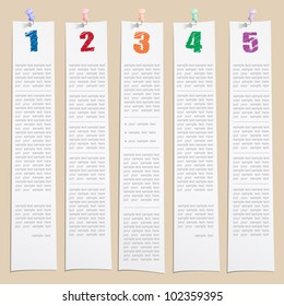 Vector design template of hands draw numbers on papers with push pin