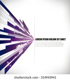 vector design template - horizontal purple lines in perspective, with title and text