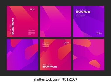 Vector design template and illustration in trendy bright gradient colors with abstract fluid shapes, copy space for text - futuristic posters, banners and cover designs