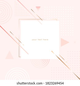 Vector design template for invitation, social media, banner, card, cover, poster. Pastel colored and golden geometric shapes on a nude background.