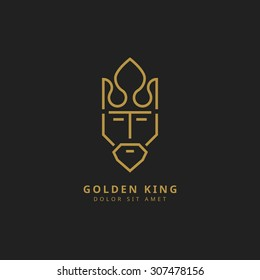 vector design template of king with crown line art logo golden icon luxury premium