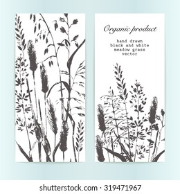 Vector design template. Meadow grass silhouettes in  inky black. Organic product, bio cosmetics and eco nature background.