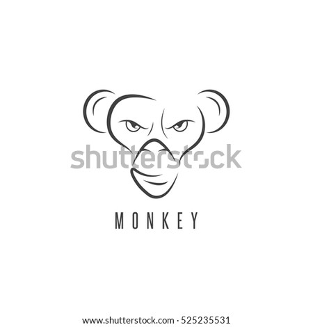 vector design template monkey face stock vector royalty free