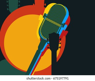 Vector design template, music theme. Guitar and retro microphone