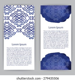 Vector design template with ornamental elements in asian style. For flyer, brochure, coupon, ticket, banner, invitation, rack card or web design. Place for your text. Watercolor.