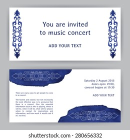 Vector design template with ornamental elements in asian style. Invitation to the concert. For flyer, brochure, coupon, banner, invitation, rack card or web design. Place for your text. Watercolor.