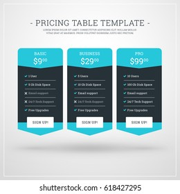 Vector Design Template for Pricing Table for Websites and Applications. Flat Design Vector Illustration