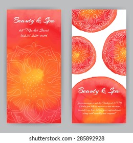 Vector design template red lotus flowers. Beauty, spa or yoga theme. For flyer, brochure, coupon, ticket, banner, invitation, rack card or web design. Place for your text. Watercolor.