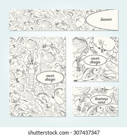 Vector design template set with banner, cover design and business card. Hand drawn doodle of various sea animals. Octopus, squid, lobster, dorado fish, prawn, mussels, crab in black lineart style.