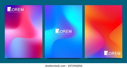 Vector design template in trendy vibrant gradient colors with abstract fluid shapes, paint splashes, ink drops. Futuristic posters, banners, brochure, flyer and cover designs. Abstract fluid 3d shape