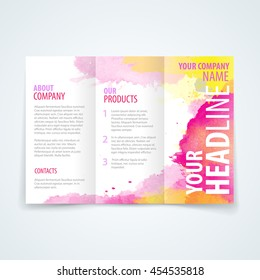 Vector design template of tri-fold brochure with colorful watercolor background