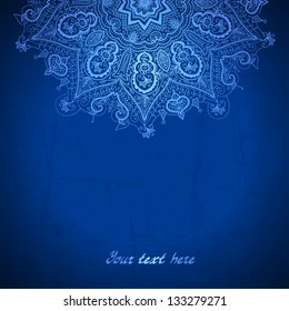 Vector design template. White circle ornament on blue background. Ethnic motif.
