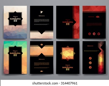 Vector design templates with poligonal backgrounds on Barcelona theme.