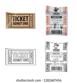 Vector design of ticket and admission logo. Collection of ticket and event vector icon for stock.