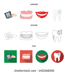 Vector design of tooth and happy logo. Set of tooth and whitening vector icon for stock.