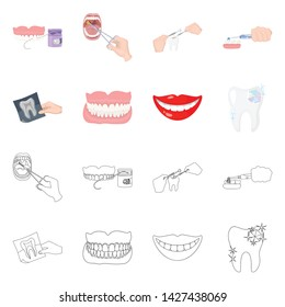 Vector design of tooth and happy symbol. Collection of tooth and whitening stock vector illustration.