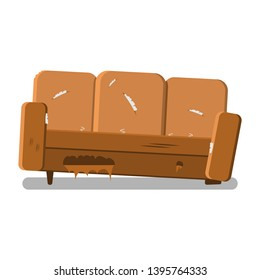 Vector design of a torn sofa. Old leaky sofa needs repair.