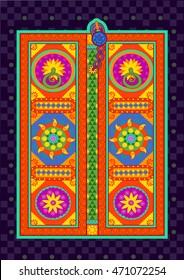 Vector design of traditional door in Indian art style