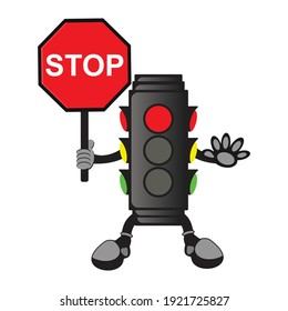 vector design of traffic lights, lights that control the flow of traffic installed on roads, zebra crossings, and other traffic flow areas.
