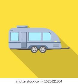 Vector design of trailer and camper symbol. Web element of trailer and vintage stock vector illustration.