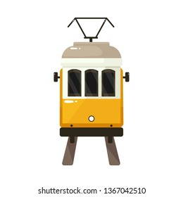 Vector design of tram and lisbon logo. Set of tram and railway vector icon for stock.