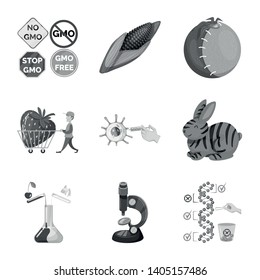 Vector design of transgenic and organic icon. Collection of transgenic and synthetic vector icon for stock.