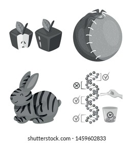 Vector design of transgenic and organic icon. Collection of transgenic and synthetic stock symbol for web.