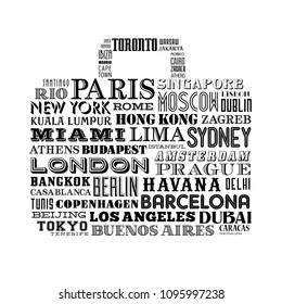 Vector design of a travel bag shape composed of famous city names from all over the world