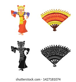 Vector design of and travel symbol. Collection of and traditional stock vector illustration.