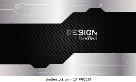 Vector design trendy and technology background concept. Metal frame border dimension by carbon fiber texture and copy space on dark background, Abstract futuristic technology template.