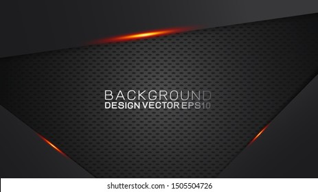 Vector design trendy and technology concept. Frame border dimension by carbon fiber texture and copy space on dark background, Abstract futuristic technology template.